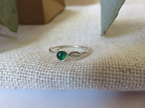 Green Agate Leafy Ring