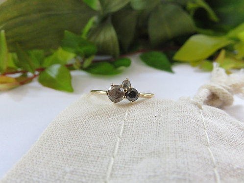 Salt and Pepper Diamond Cluster in 9ct Gold Ring