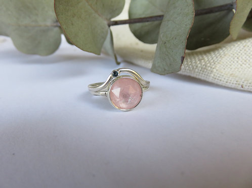 Natural Rose-cut Morganite and London Blue Topaz Silver Ring Set