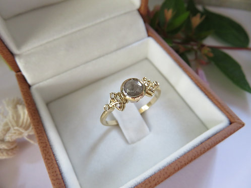 Earthy Salt and Pepper Diamond in Vintage Design 9ct Gold Ring