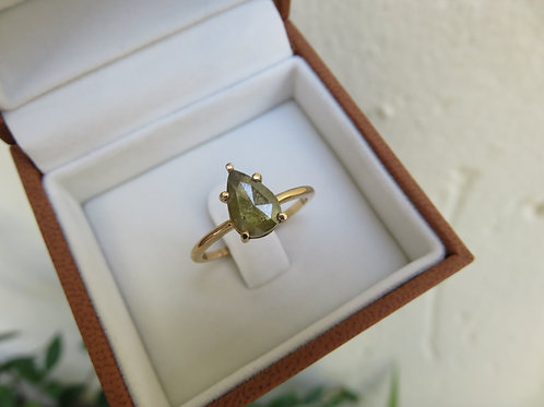 Natural Green Pear Salt and Pepper Diamonds in 9ct Gold Ring