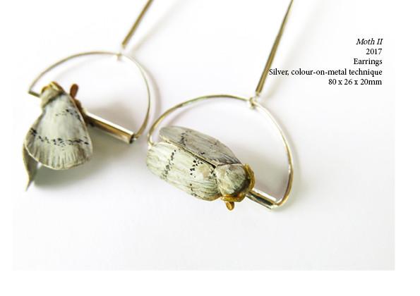 Moth II  2017  Earrings  Silver, colour-on-metal technique  80 x 26 x 20mm