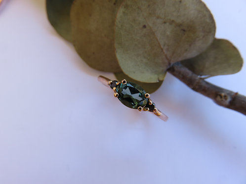 Green Tourmaline and Black Diamonds in 9ct Rose Gold