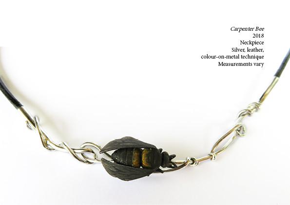 Carpenter Bee  2018  Neckpiece  Silver, leather, colour-on-metal technique Measurements vary