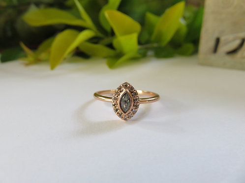 Grey Salt and Pepper Diamond and Halo 9ct Rose Gold Ring
