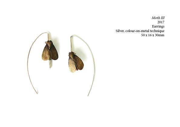 Moth III  2017  Earrings  Silver, colour-on-metal technique  50 x 16 x 30mm