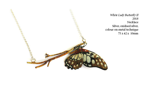 White Lady Butterfly II  2018  Necklace  Silver, oxidised silver, colour-on-metal technique  75 x 42 x  10mm