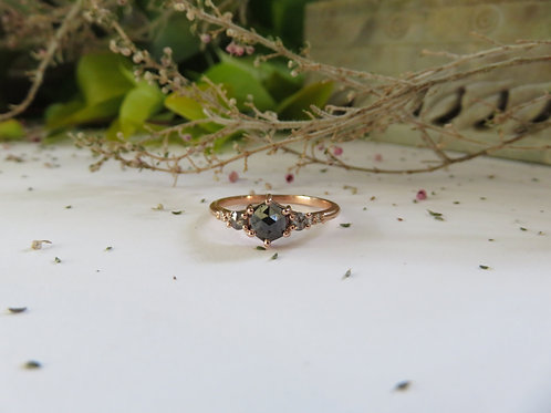 Black Hexagon Diamond with Grey and White diamonds in 9ct Rose Gold Ring