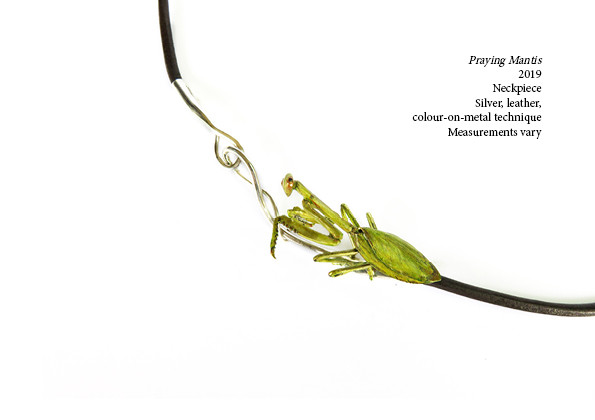 Praying Mantis  2019  Neckpiece  Silver, leather, colour-on-metal technique Measurements vary