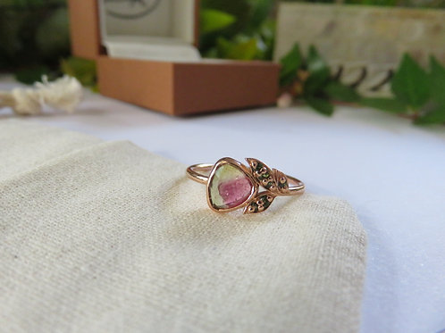 Watermelon Tourmaline Nature Inspired Ring in 9ct Rose Gold