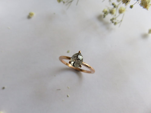 Black Rutilated Quartz in 9ct Rose Gold Ring