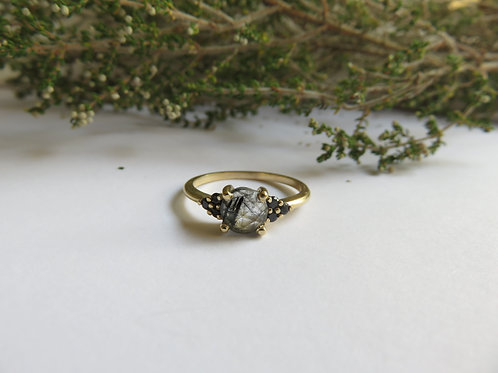Rutilated Quartz with Black Spinel in 9ct Gold Ring