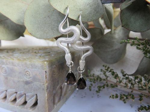 Smokey Quartz Snake Sterling Silver drop earrings