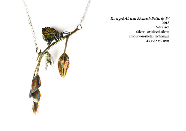 Emerged African Monarch Butterfly IV  2018  Necklace  Silver , oxidised silver, colour-on-metal technique  43 x 82 x 9 mm