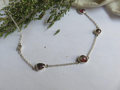Rose cut Watermelon Tourmaline Sterling Silver Necklace