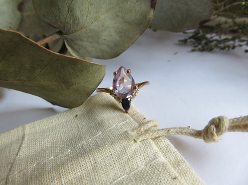 Amethyst with Sapphire and Diamonds in 9ct Rose Gold Ring