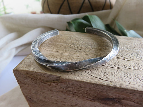 Solid Sterling Silver Twisted Men's Bangle