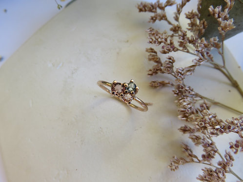 Soft Hue Tourmaline Cluster in 9ct Rose Gold Ring
