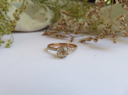 Gold Rutilated Quartz with Moissanites in 9ct rose gold Ring