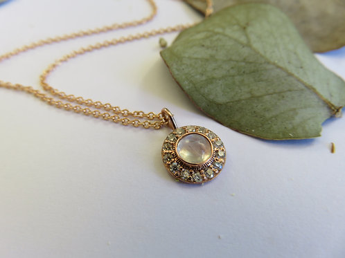 Moonstone and Moissanite Compass 9ct Rose Gold Necklace