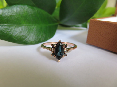 Indicolite Blue Tourmaline and Diamonds 9ct Rose Gold Ring