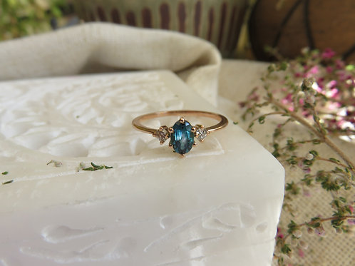 Blue Tourmaline and Diamond in 9ct Gold Ring