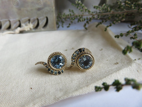 Ombre natural Sky Topaz 9ct Gold Stud Earrings
