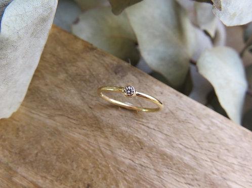 Petite White Diamond and Gold ring