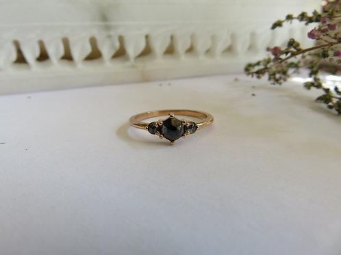 Black Hexagon Diamond in 9ct Rose Gold Ring