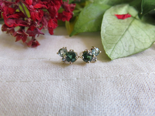 Petite Moss Cluster Earrings