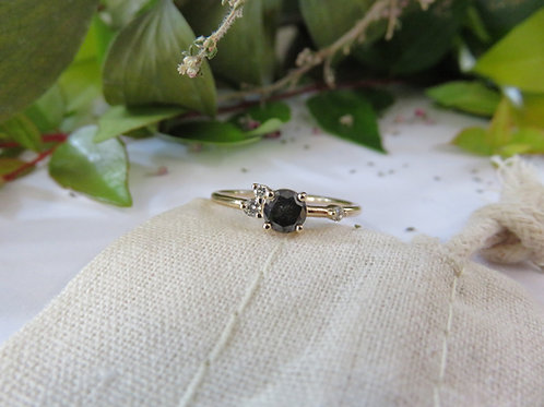 Petite Black Salt and Pepper Diamond Cluster in 9ct Gold RIng