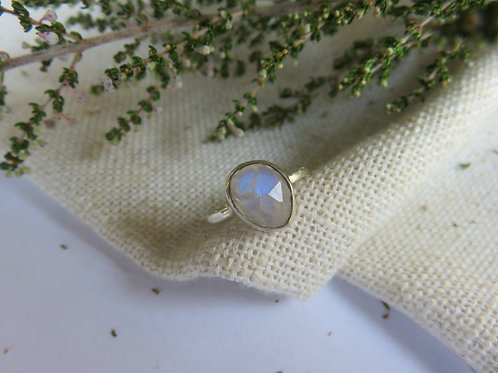 Natural Rainbow Moonstone Sterling Silver Ring II