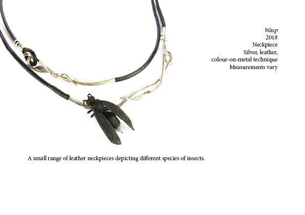Wasp  2018  Neckpiece  Silver, leather, colour-on-metal technique Measurements vary Sold  A small range of leather neckpieces depicting different species of insects.