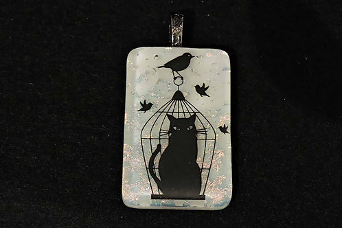 A039 Cat in Birdcage Pendant