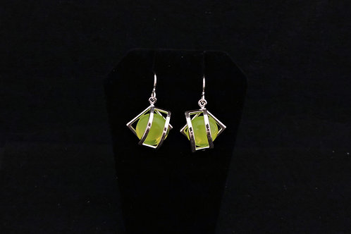 E116 Spring Green Cage Earrings