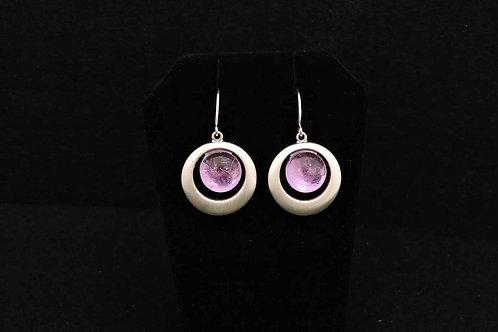 E085 Purple Round Earrings