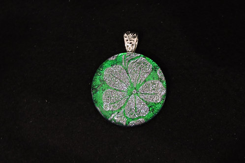 P448 Green & Silver Plumeria Pendant
