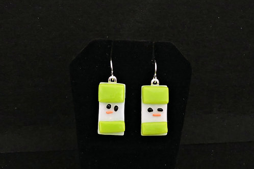 H46 Spring Green Snowdude Earrings