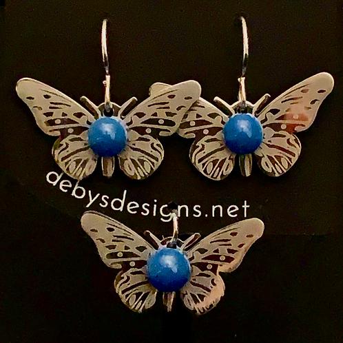 S002 Dusty Blue Butterfly Earrings & Pendant