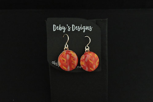E027 Orange & Red Round Earrings