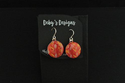 E027 Orange & Red Round Earrings