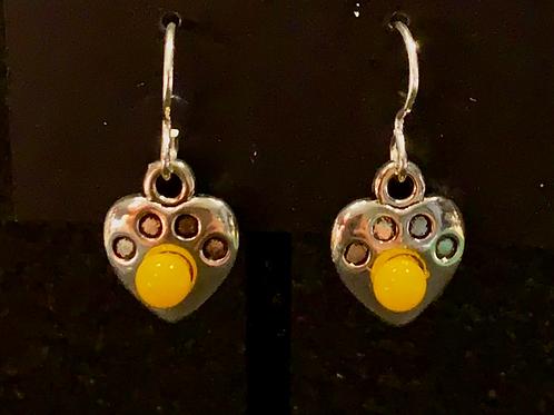 E005 Tiny Yellow Paw Earrings