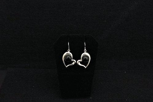 E126 Black Heart Earrings