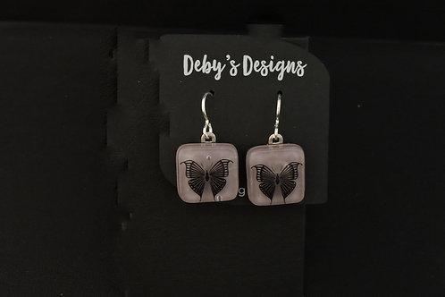 E039 Purple Butterfly Earrings