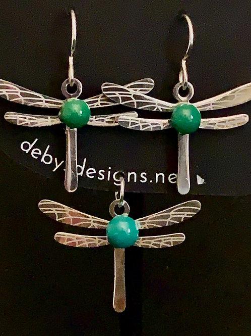 S006 Green Dragonfly Earrings & Pendant