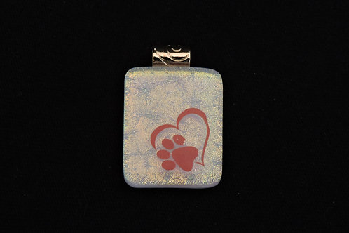 P233 Red Heart & Paw Pendant