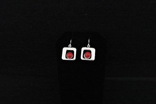 E101 Red Square Earrings