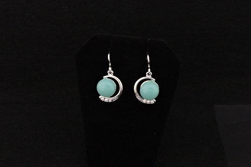 E122 Aqua Crescent Earrings