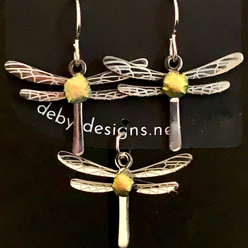 S007 Dichroic Dragonfly Earrings & Pendant