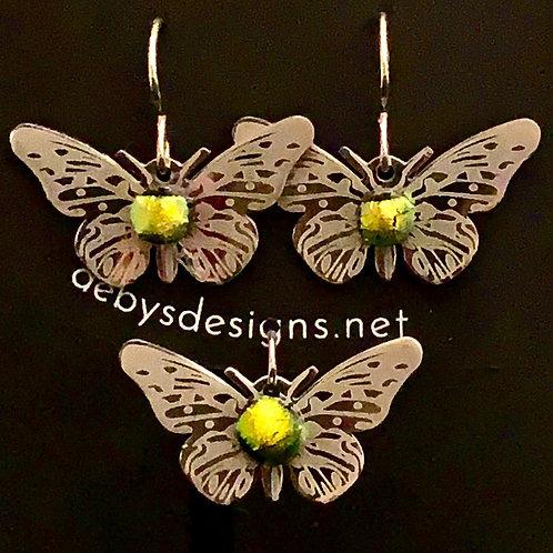 S004 Dichroic Butterfly Earrings & Pendant